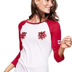 PINK Victoria Secret New Holiday Christmas Bow Tee